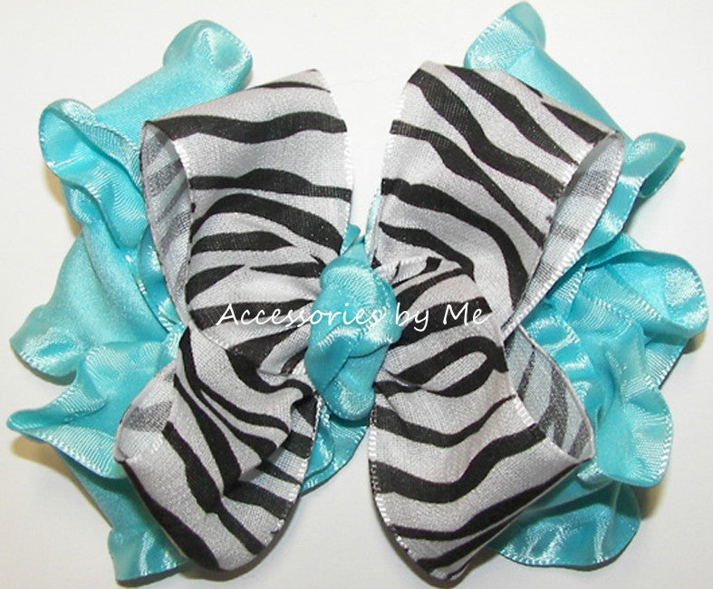 Frilly Zebra Turquoise Ruffle Hair Bow - Accessories by Me