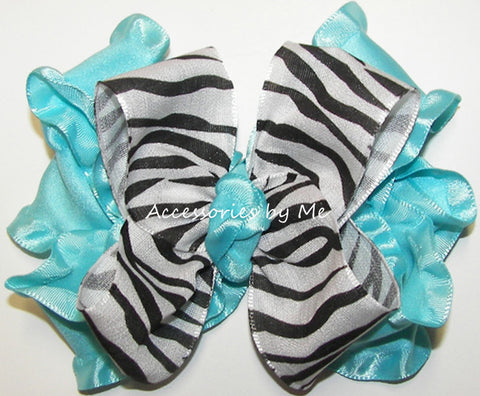 Frilly Zebra Turquoise Ruffle Hair Bow