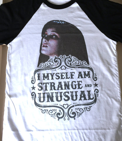I myself am strange and unusual - Beetlejuice Lydia quote Halloween Shirt - Unisex Baseball Tee