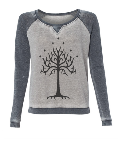 Lord of the Rings Tree of Gondor super soft burnout style womens pullover sweatshirt ladies girls