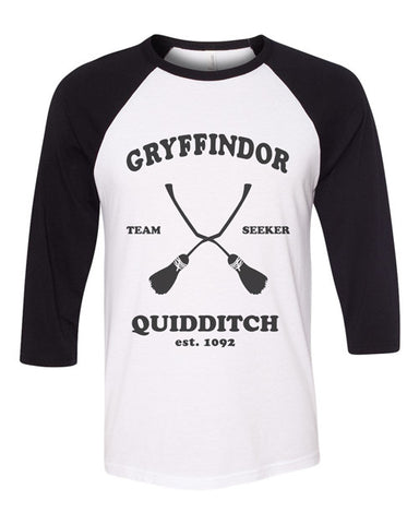 Hogwarts Team Seeker quidditch - Baseball ringer tee - Harry Potter