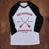 Harry Potter Hogwarts Quidditch Team Seeker House shirts - Baseball ringer tee - Slytherin Gryffindor Hufflepuff Ravenclaw