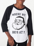 Kids Funny Holiday Shirt - Where my ho's at? HO HO HO - Baseball ringer tee - Ugly Christmas Sweater party