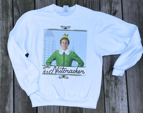 Son of a Nutcracker ELF Christmas Sweater. Ugly Christmas Sweatshirt Unisex Adults and Kids