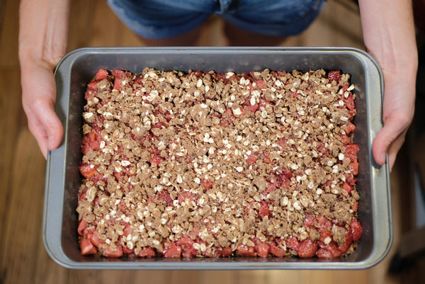 Summer berry squares ready for the oven