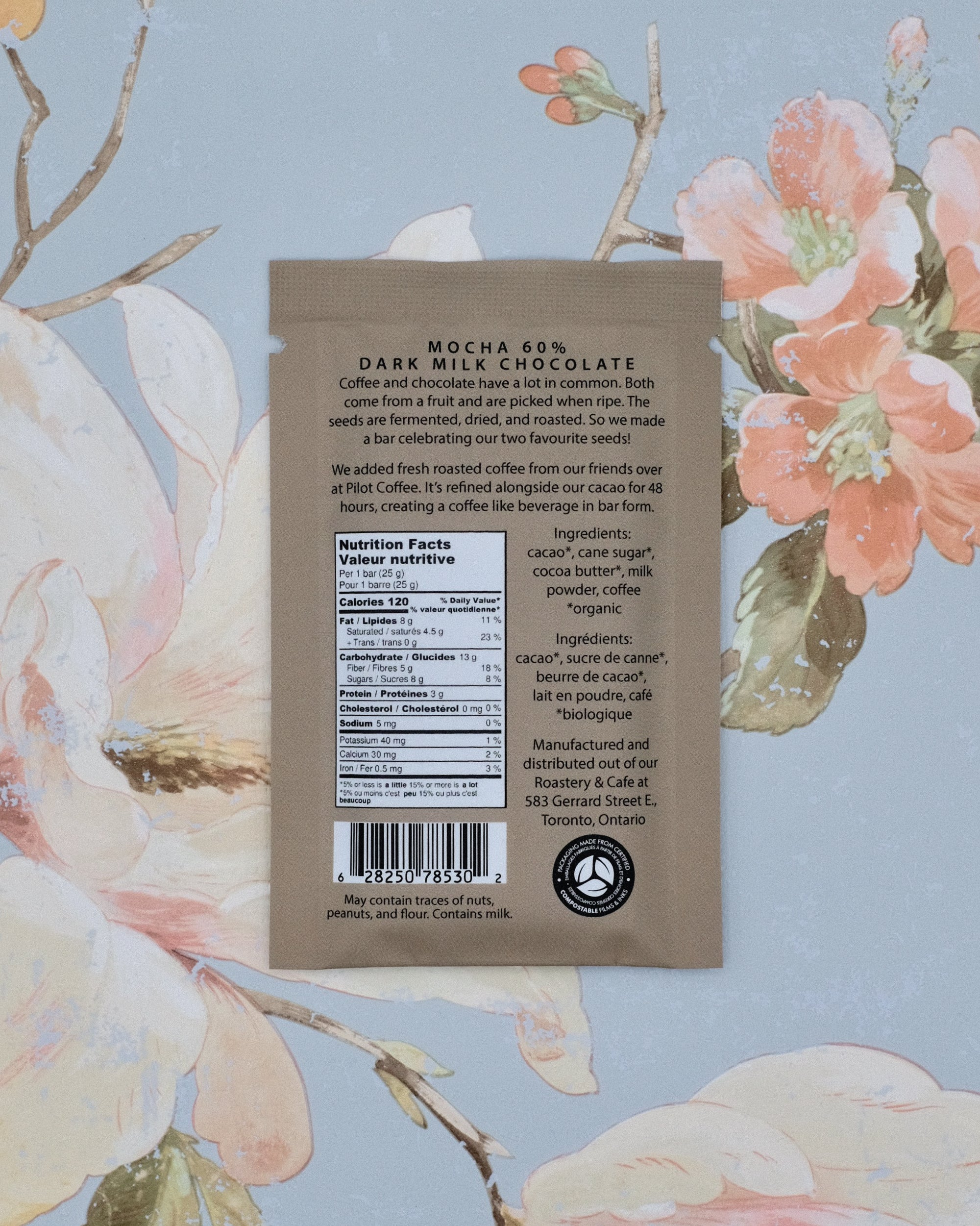 The back of our Mocha 60% Dark Milk Chocolate bar gives a bit of information on why we work with Pilot Coffee, along with nutritional information and ingredients