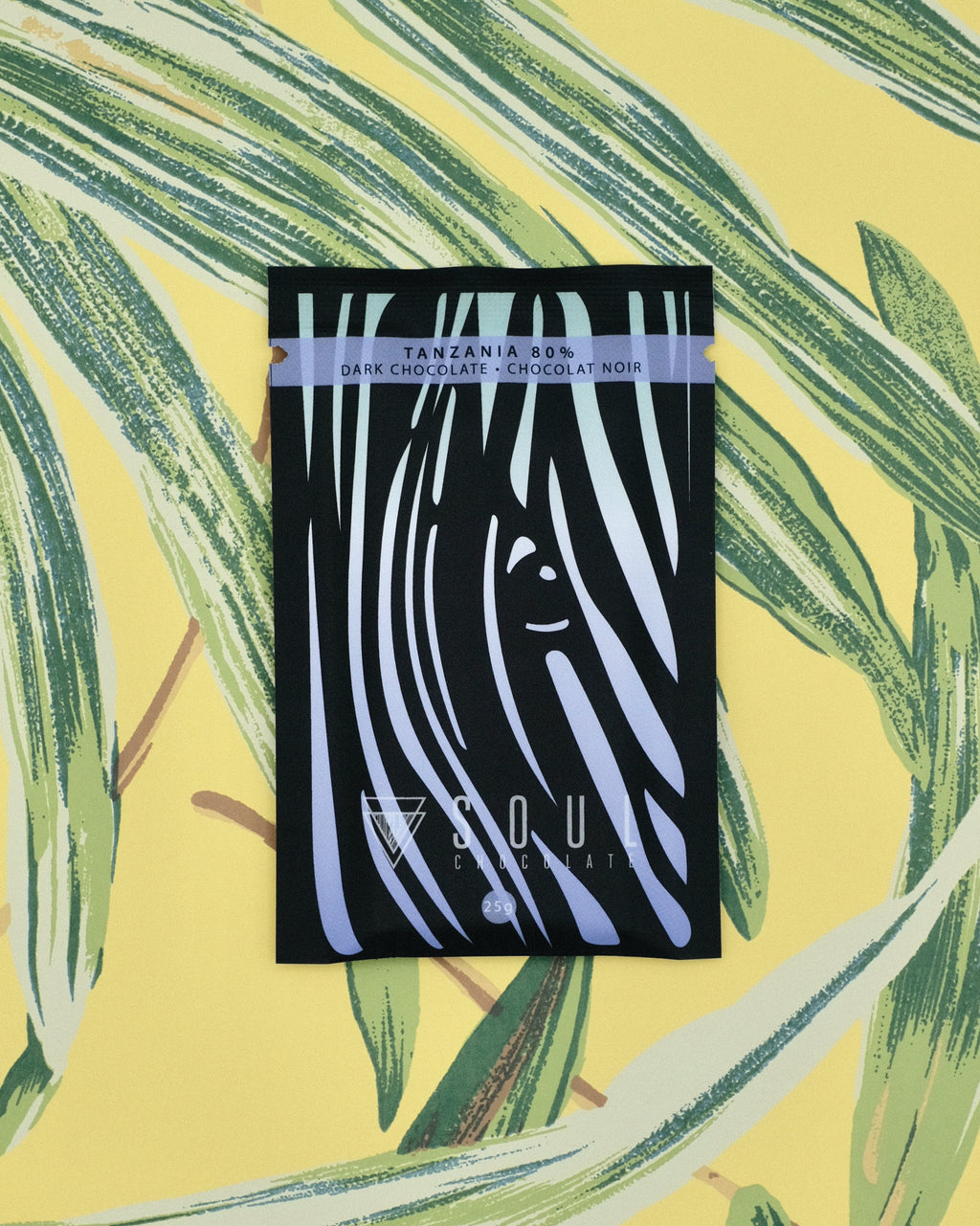 The front of our Tanzania 80% dark chocolate bar. Its designed to look like a Zebra - one of which we encountered on our trip to Tanzania.