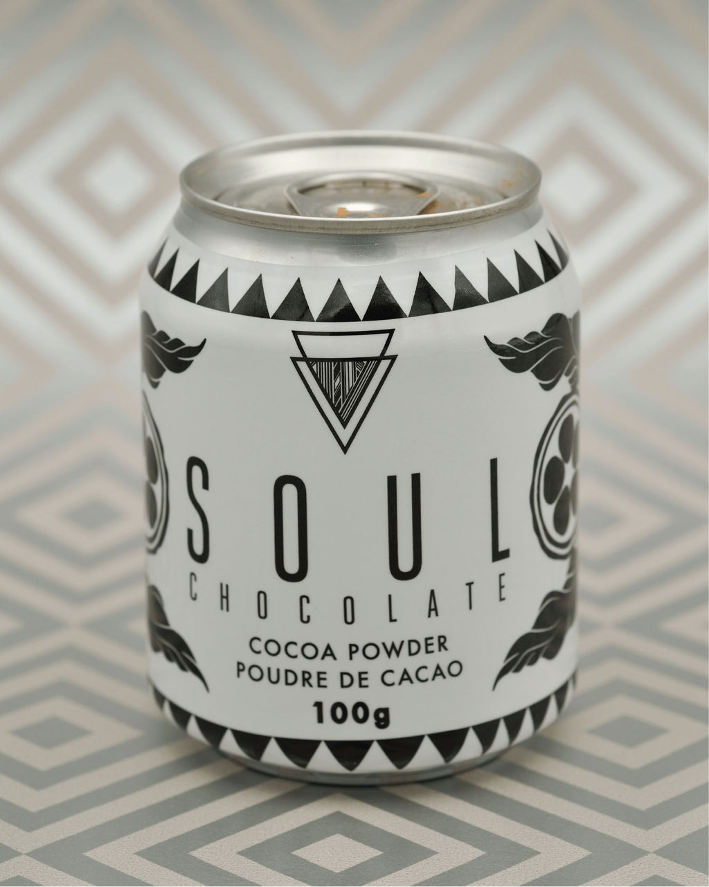 Here is a photo of our Cocoa Powder Tin, available at Soul Chocolate