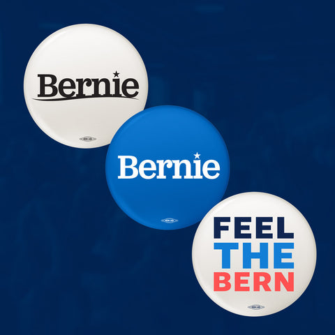 "Mini-button three pack for Bernie Sanders! Our 1"" buttons, including blue Bernie logo, white Bernie logo, and ""Feel the Bern."" Union made in the USA."