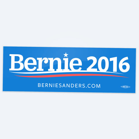 "Bernie Sanders durable, Bernie Sanders for President flexible 3¾""×7½"" vinyl bumper sticker on blue background with removable adhesive. Union-printed in the USA. Car safe! Outd"