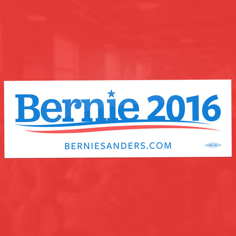 "Bernie Sanders durable, flexible 3¾""×7½"" white vinyl bumper sticker with removable adhesive. Car safe! Outdoor durable for 3-5 years."
