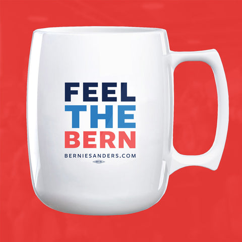 "Caution: you'll feel the Bern with this official Bernie Sanders mug. White acrylic 14oz mug with ""Feel the Bern"" printed on the side. Union made in the USA."