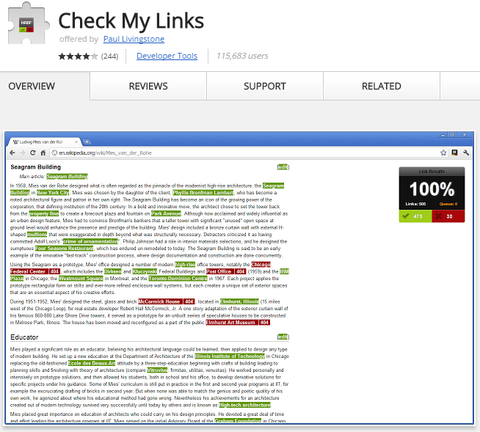 Link checking tool for chrome