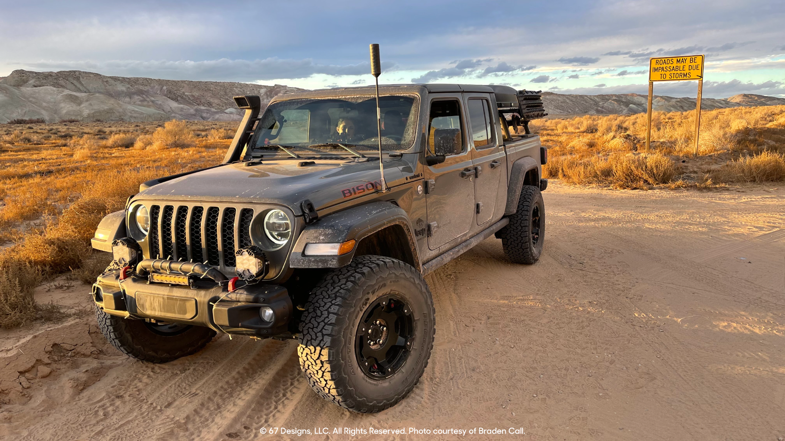 Sunset golden hour on the Jeep