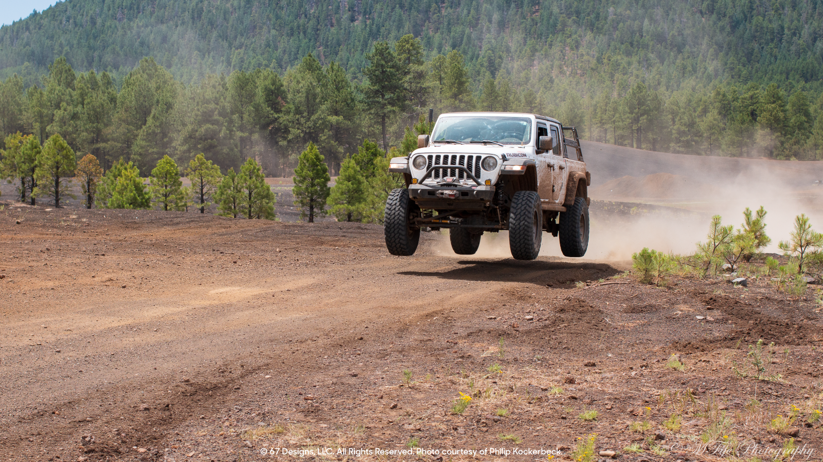 Jeep in the air during a jump