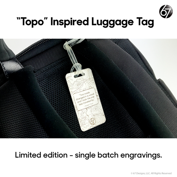 Topo Inspired Luggage Tag - Robert Frost