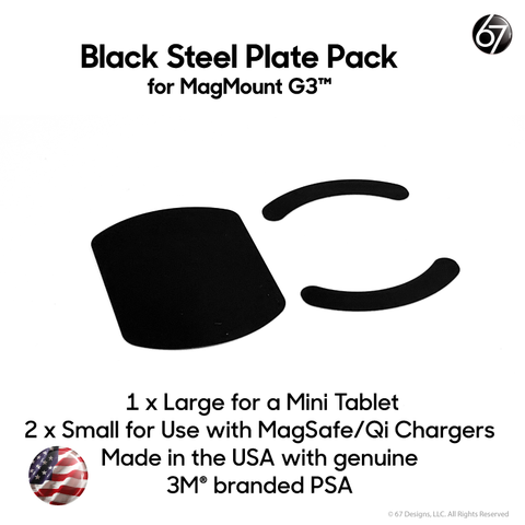 MagMount G3 Large and Small Black Steel Plates