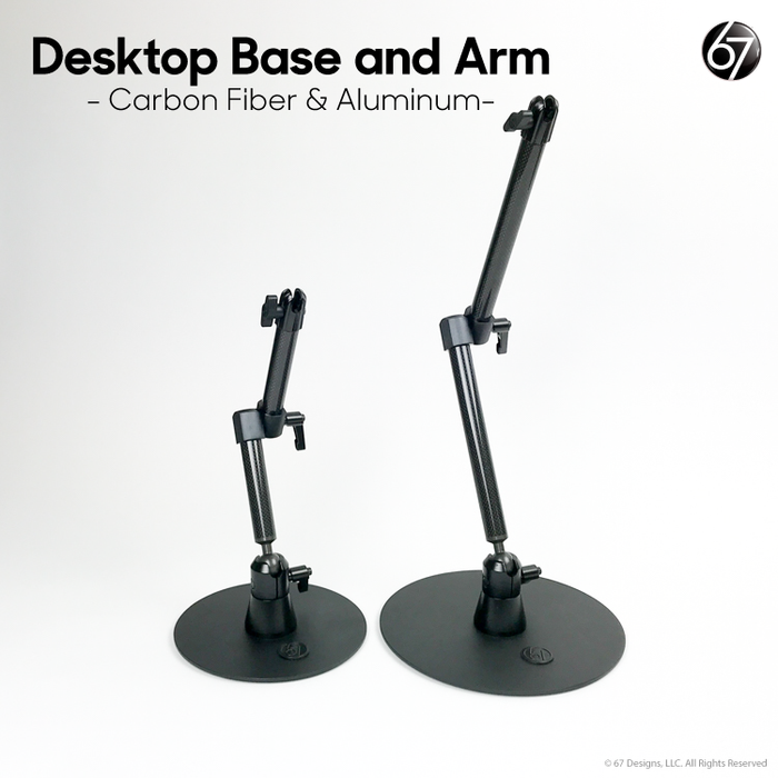 Desktop Base with Two Piece Jointed Arm