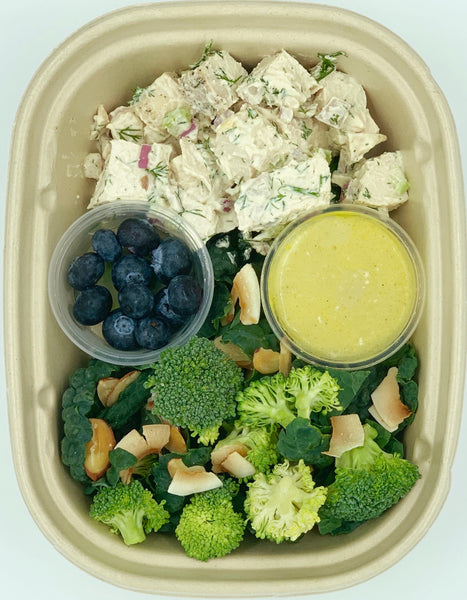 Chicken Salad with Broccoli, Kale, Blueberries and Coconut