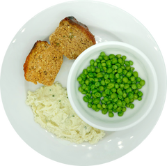 Homestyle Barbeque Meatloaf with Garlic Cauliflower Mash and Peas