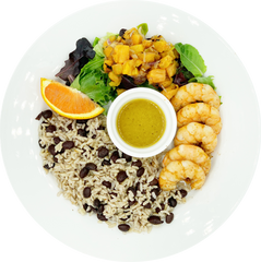Jamaican Jerk Bowl with Grilled Pineapple Salad & Orange Honey Vinaigrette - with Wild-Caught Shrimp