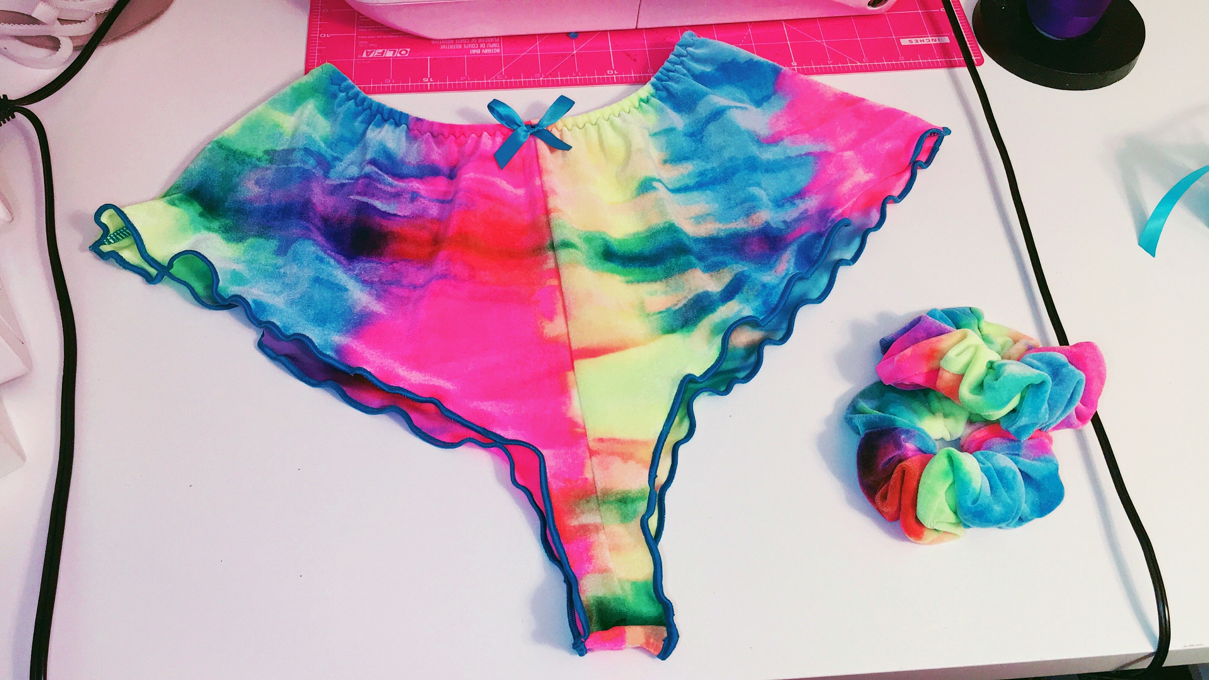 Alexandrea Anissa Josie Short - Cotton Candy Tie Dye Velvet