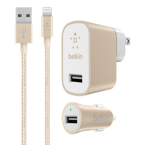 Belkin Gold Charger Kit with Lightning Cable