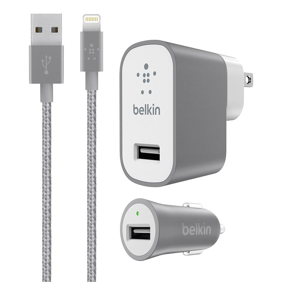 Belkin Grey Charger Kit with Lightning Cable - Makerwiz