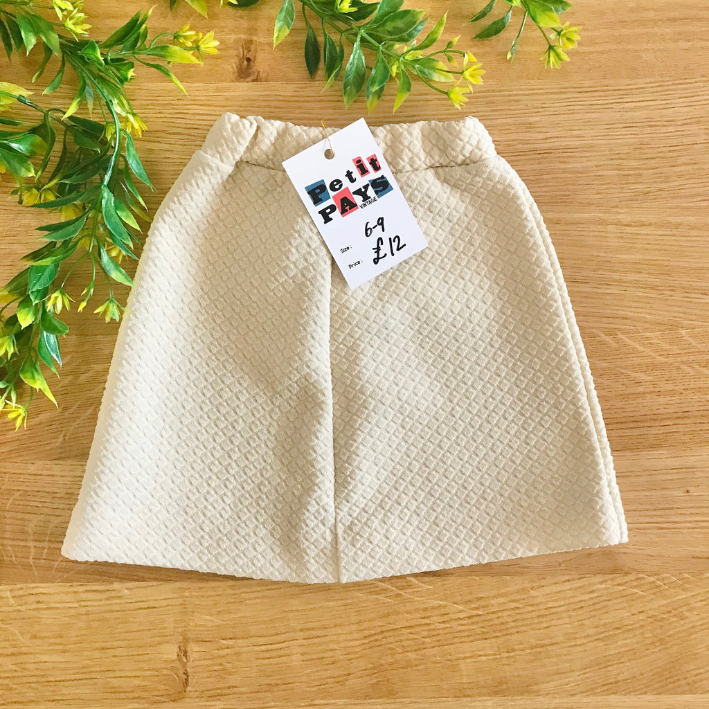 Vintage 60's Nude Textured Skirt British Made 6-9M-Bottoms-Petit Pays Vintage