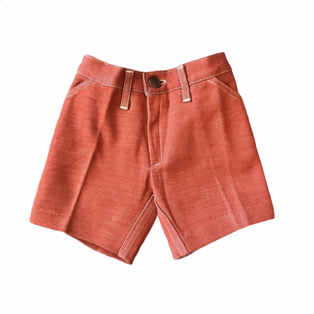 Vintage 60s Rust Shorts French Made New Old Stock 18-24 Months-Bottoms-Petit Pays Vintage