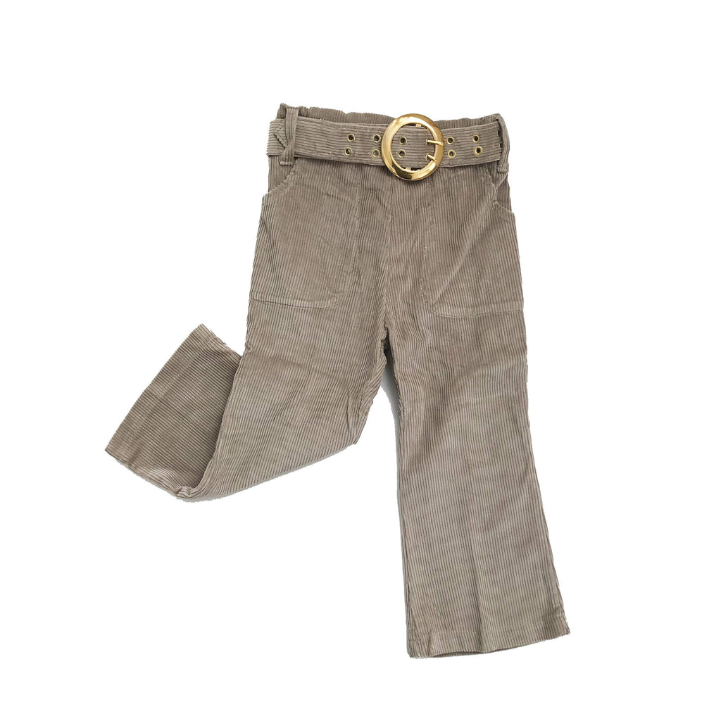 Vintage NOS 70s Beige Corduroy Flare / Bells Belted Trousers 4-5Y-Bottoms-Petit Pays Vintage