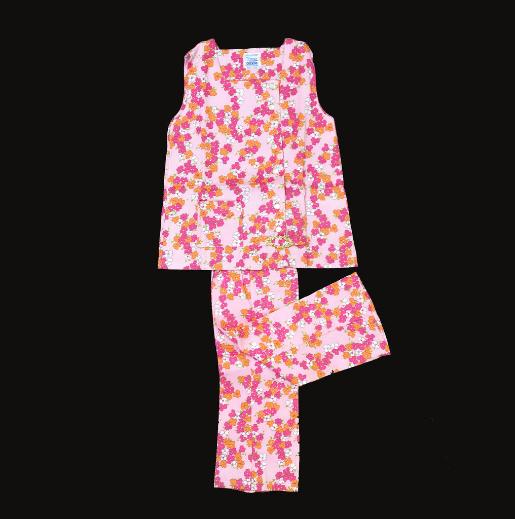 Vintage 60s FLoral/Liberty Pink Sleeveless Top And Trousers Set New Old Stock 2-3 and 3-4Y-Clothing Sets-Petit Pays Vintage