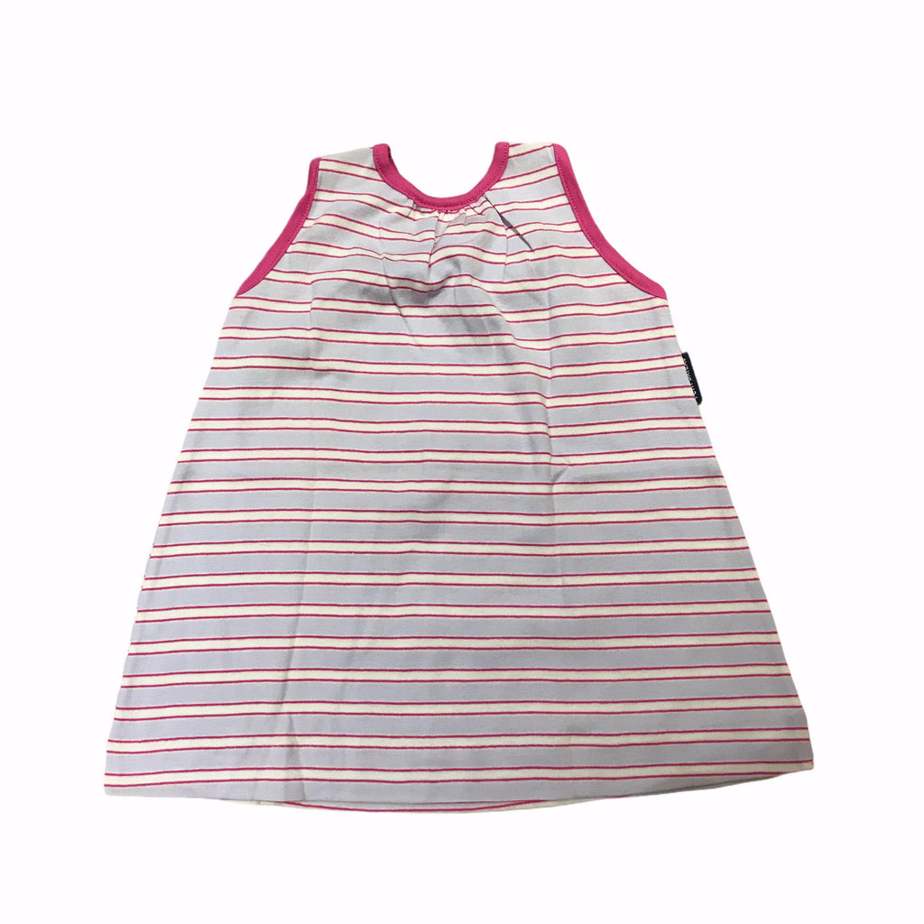 70's Vintage Pink Striped Baby PETIT BATEAU Dress Made in France Size 9-12 Months-Dresses and Skirts-Petit Pays Vintage