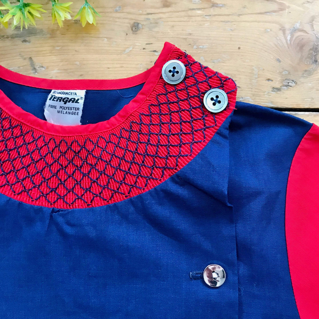 Vintage 60's Red/Blue Dress/School Blouse Made in France 6-8 Years-Dresses and Skirts-Petit Pays Vintage