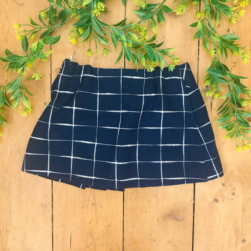 Vintage 60s Dark Blue Check Pleated Mini Skirt Made in France 3-4Y-Dresses and Skirts-Petit Pays Vintage