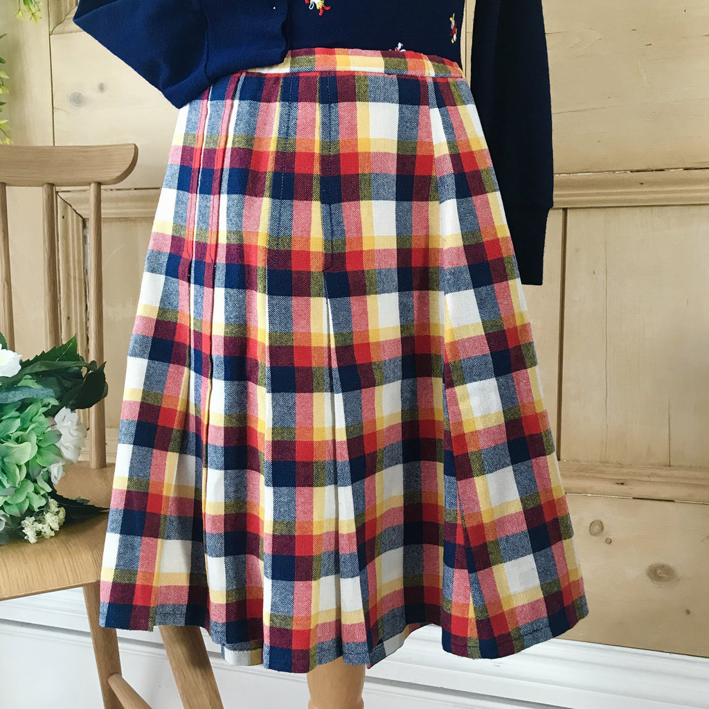 Vintage 1960s Check Girl's Pleated Skirt French Stock 8-10Y-Dresses and Skirts-Petit Pays Vintage