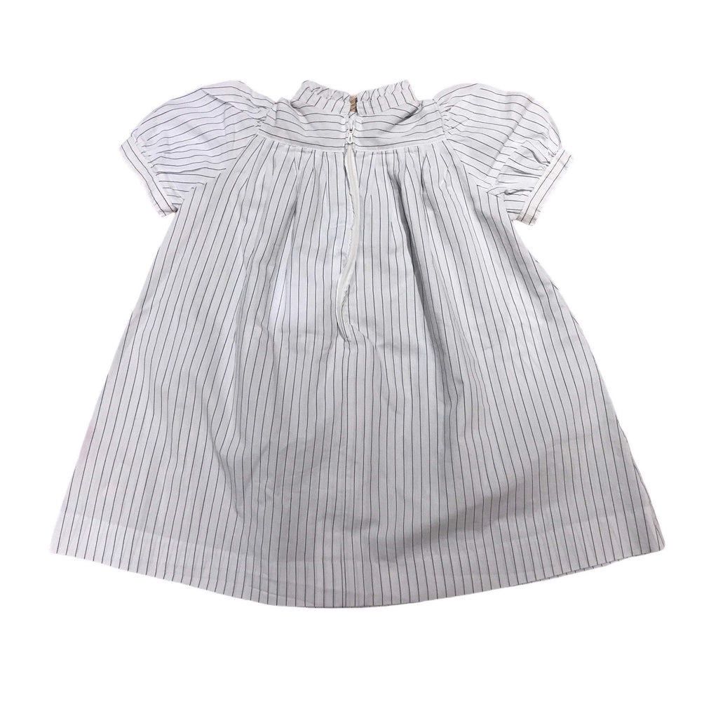 70's White Thin Stripes Toddler Dress French Made 18-24M-Dresses and Skirts-Petit Pays Vintage