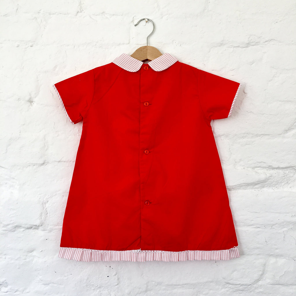 Vintage NOS 60's Red Dress New Old Stock 3-4, 4-5Y-Dresses and Skirts-Petit Pays Vintage