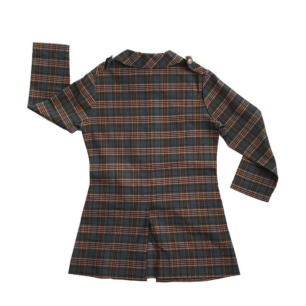 Vintage NOS 60's Dark Green/Brown Plaid School Blouse /Tunic Made in France 6-8 Years-Dresses and Skirts-Petit Pays Vintage