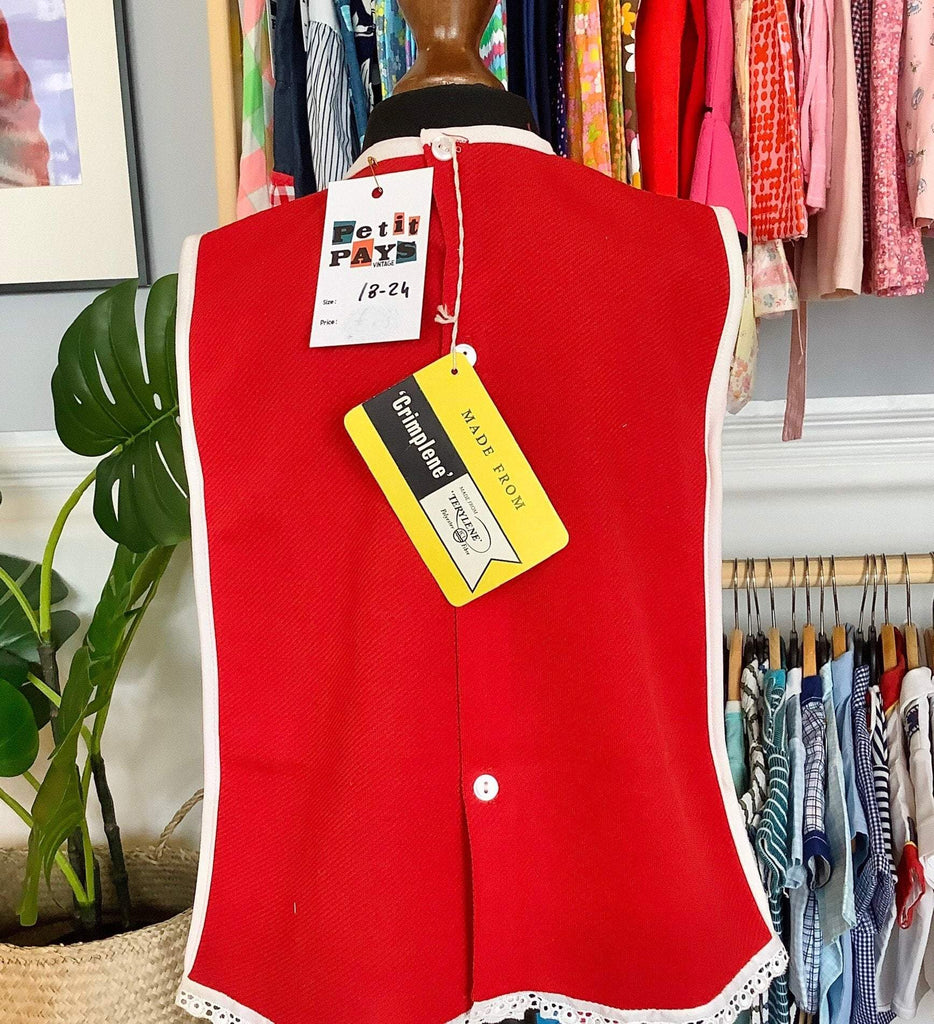 Vintage 60's Red Mod Dress British Made NOS 18-24M-Dresses and Skirts-Petit Pays Vintage
