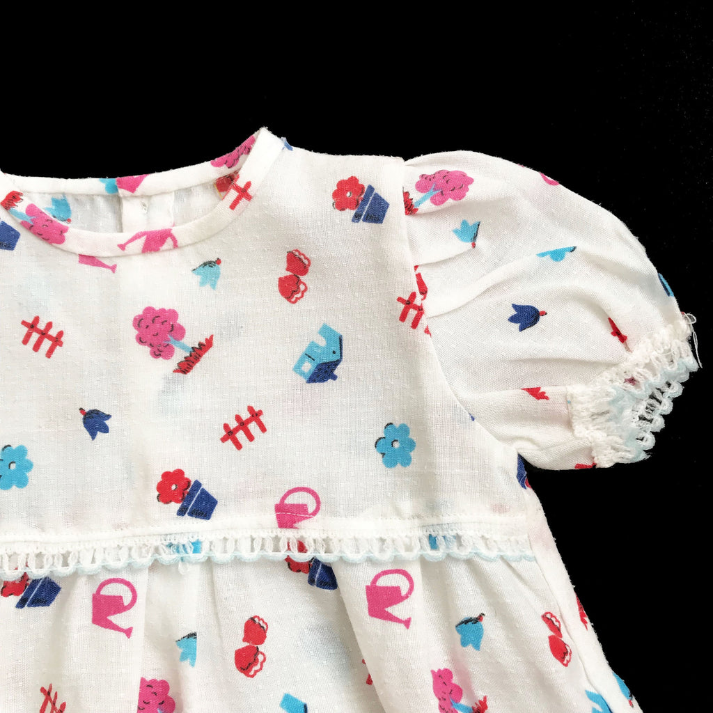 70's Printed Dress French Made 6-9 Months-Dresses and Skirts-Petit Pays Vintage
