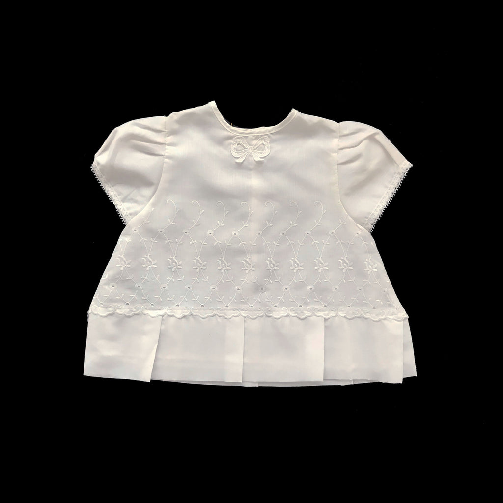 "Vintage 60's ""Broderie Anglaise"" White Pleated Dress Made in France 0-3 Months-Dresses and Skirts-Petit Pays Vintage"