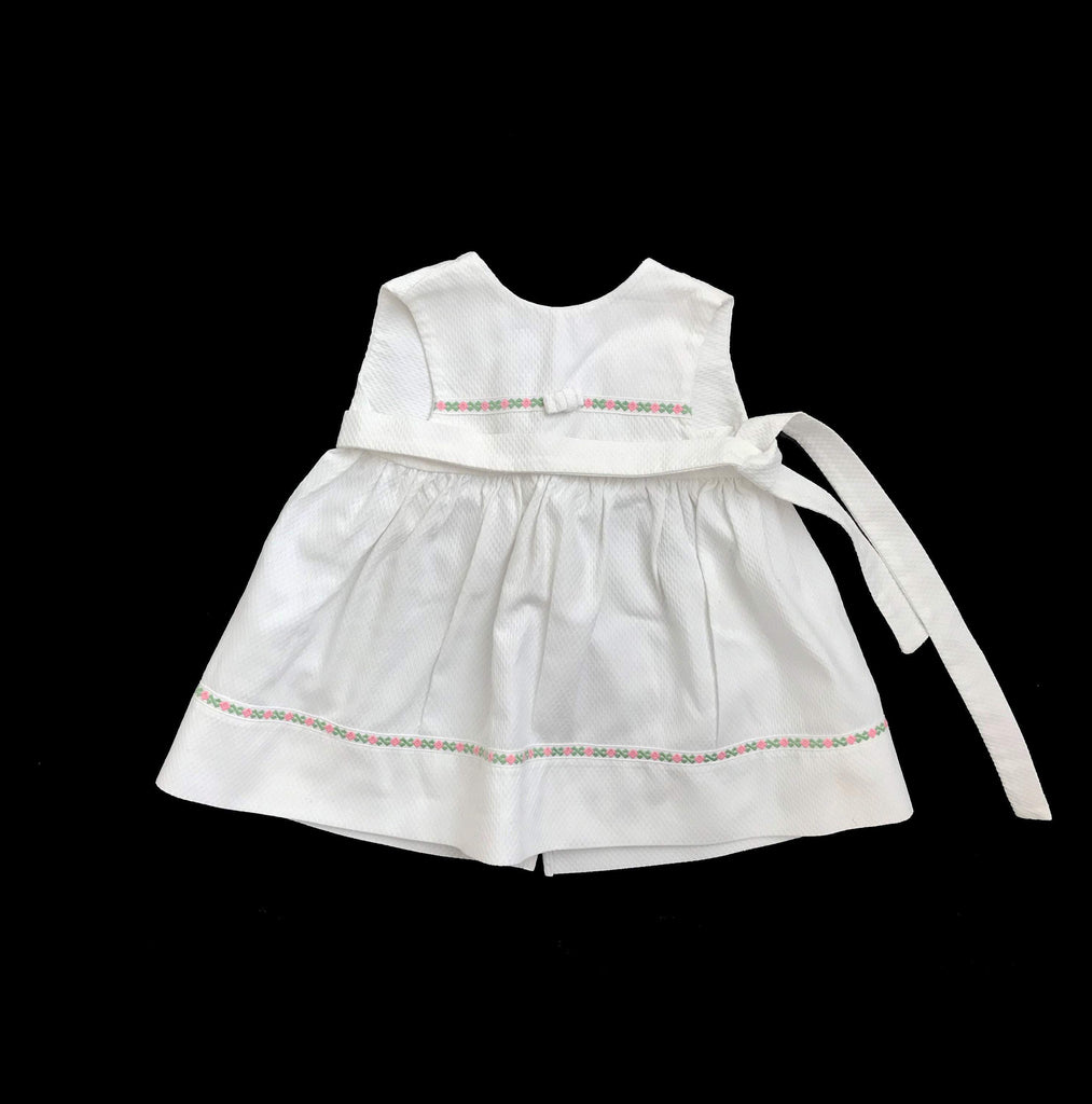 60's White Textured Pinafore Apron Dress French Stock 3-6 Months-Dresses and Skirts-Petit Pays Vintage