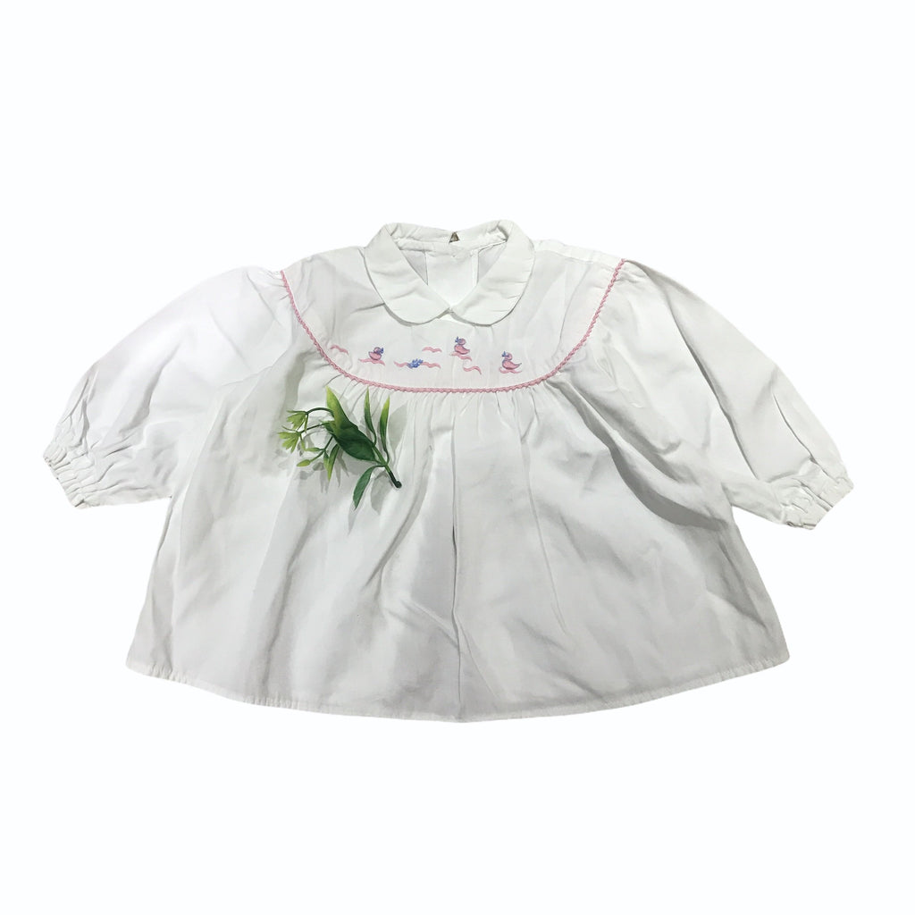 "Vintage 60's White ""Ducklings"" Embroidered Long Sleeve Top / Shirt / Blouse 6-9 Months-Dresses and Skirts-Petit Pays Vintage"