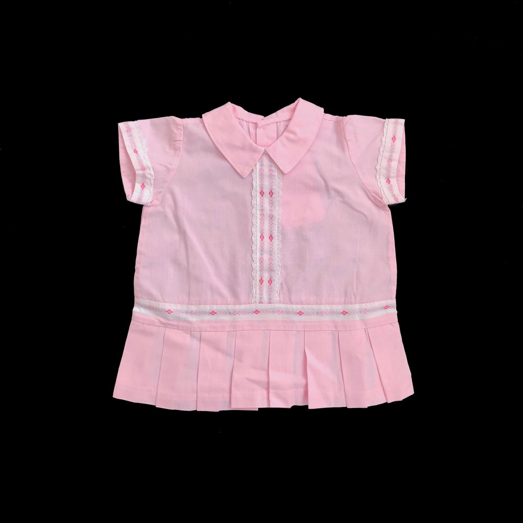 Vintage 60's Pink Pleated Mod Dress Made in France 3-6 Months-Dresses and Skirts-Petit Pays Vintage