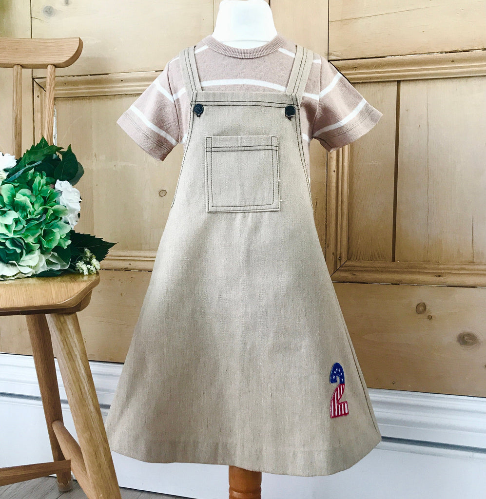"Deadstock Vintage 1970s Beige Pinafore Girl's "" Two"" Dress Spanish Made 4-5Y-Dresses and Skirts-Petit Pays Vintage"