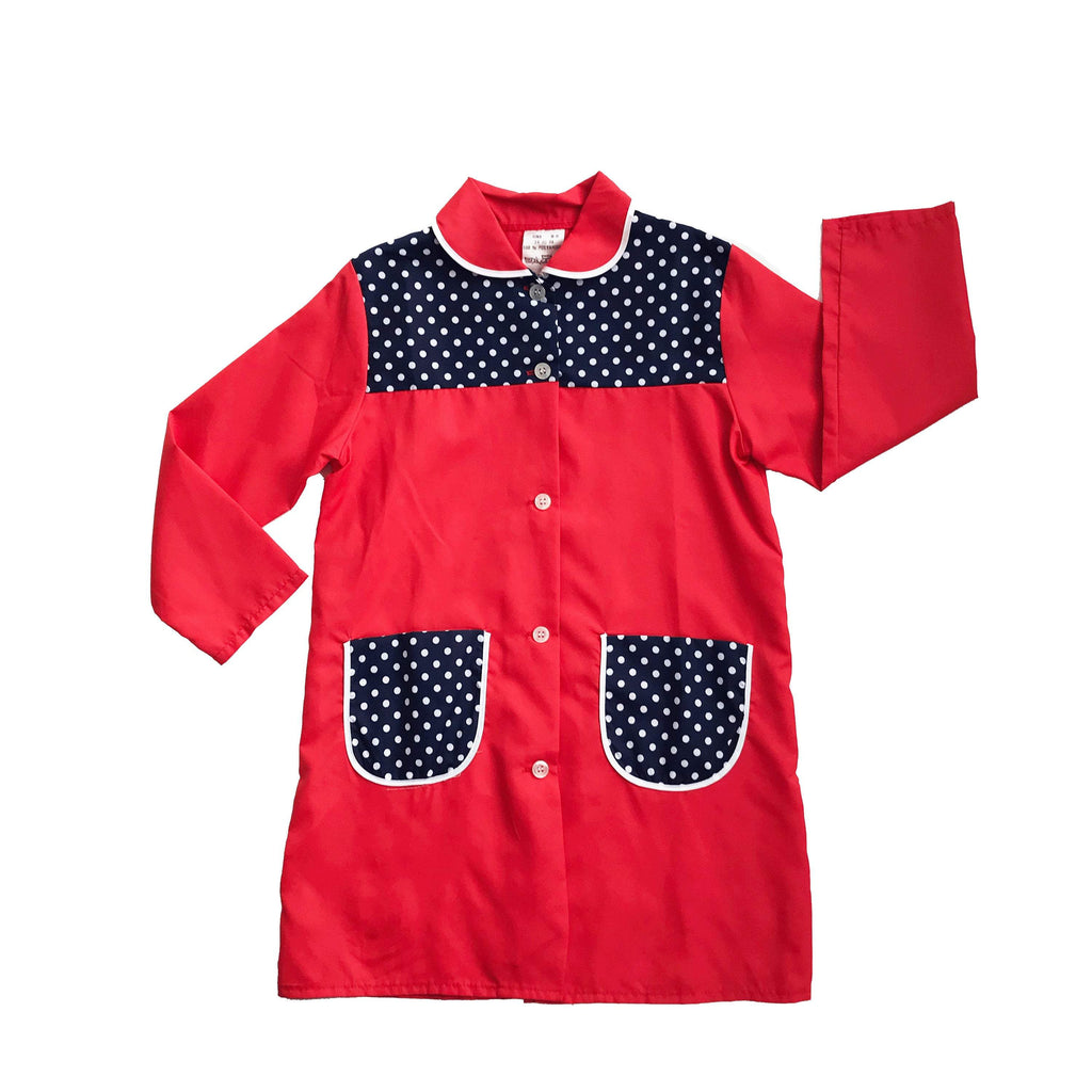 Vintage 60's Red/ Dark Blue Long Nylon School Blouse / Shirt French Made Size 6-8Y-Dresses and Skirts-Petit Pays Vintage