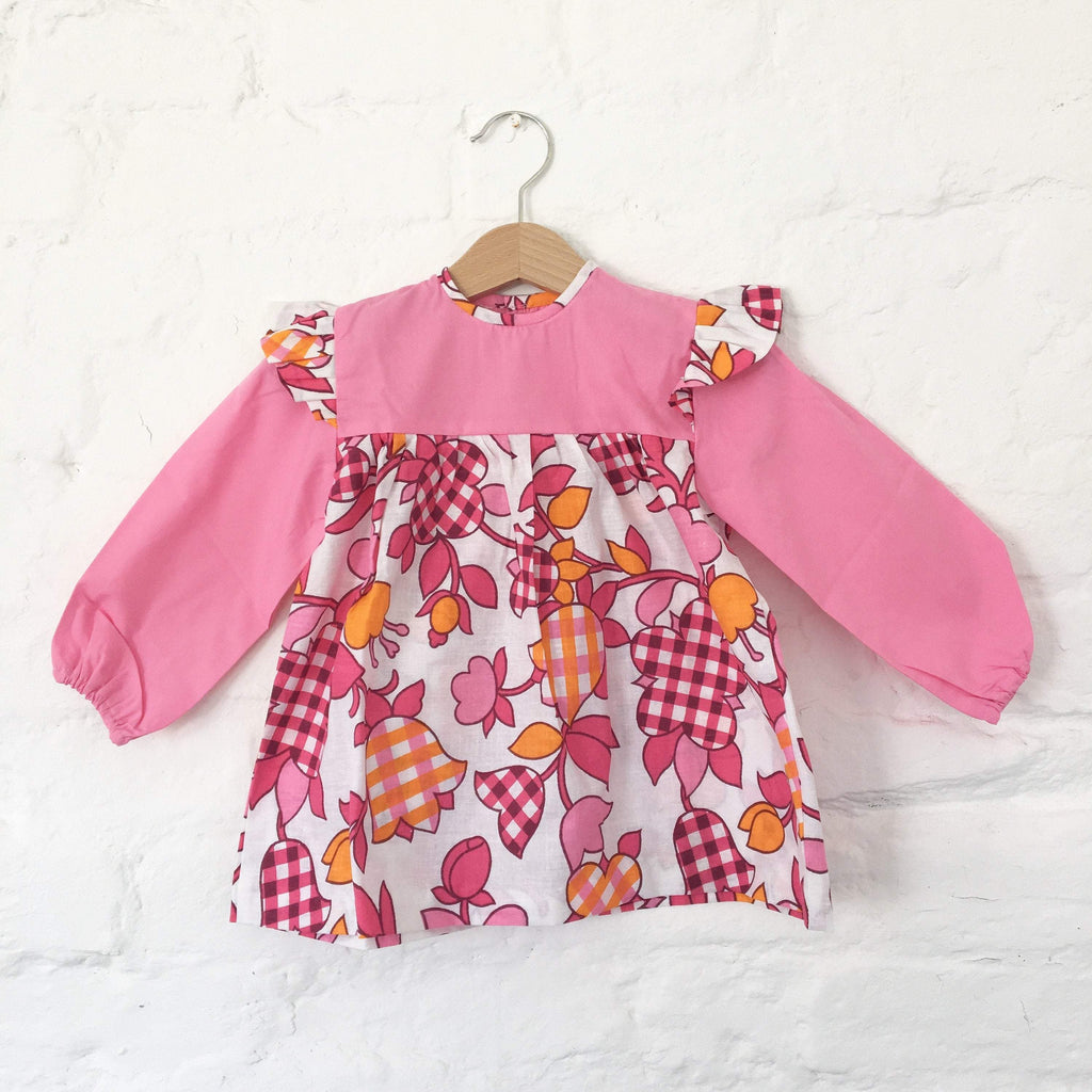Vintage 70's Pink Floral Dress British Stock Size 18-24 M and 2-3 Years-Dresses and Skirts-Petit Pays Vintage