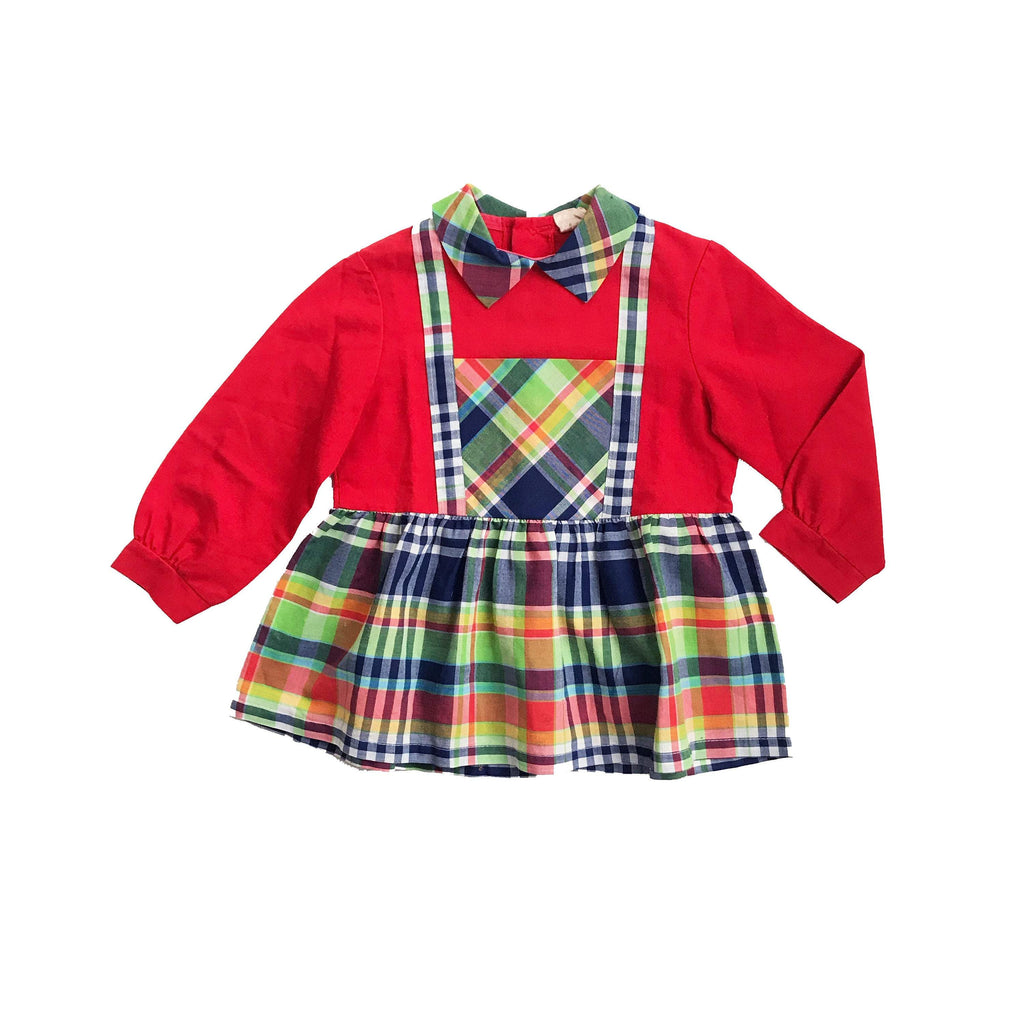 Vintage 60's Red Tartan Dress French Stock Size 18-24M-Dresses and Skirts-Petit Pays Vintage