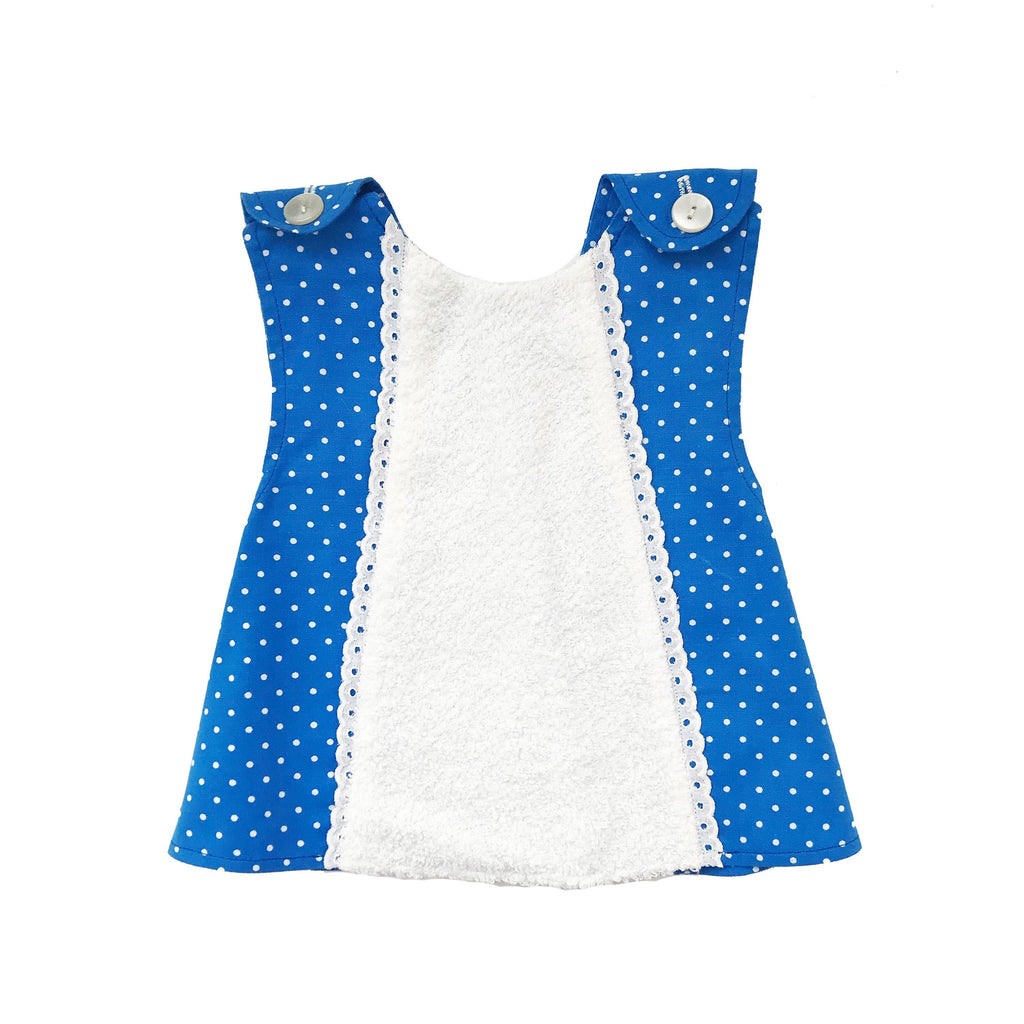 Vintage 60's White/Blue Cross Back Apron/Dress French Stock 6-9M-Dresses and Skirts-Petit Pays Vintage
